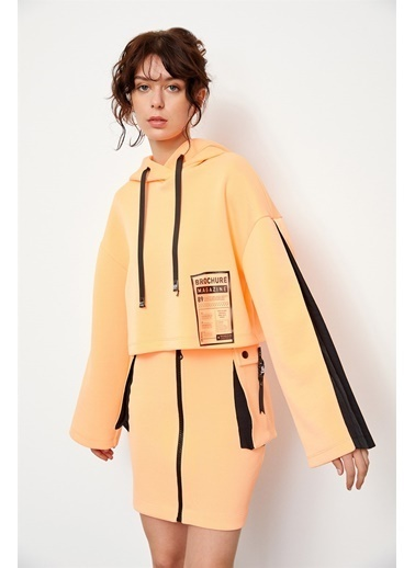 Setre Oranj-Siyah Yüksek Bel Fermuarlı Mini Etek Siyah